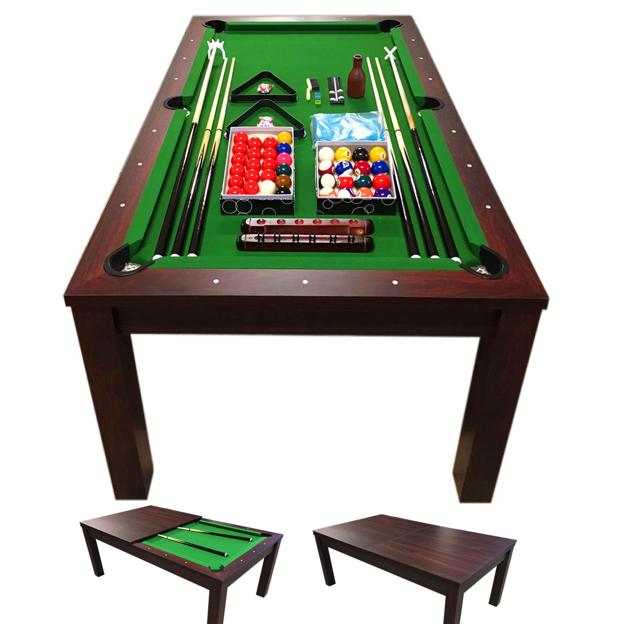 10 FT Pool Table Billiards and Dining Table – Green Star
