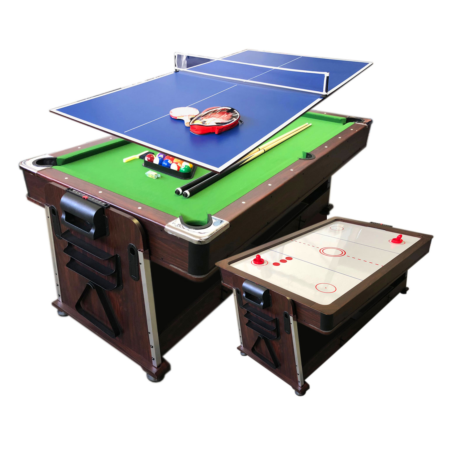 10 FT Pool Table + Air Hockey Table + Tennis Table + Dining table – Mattew