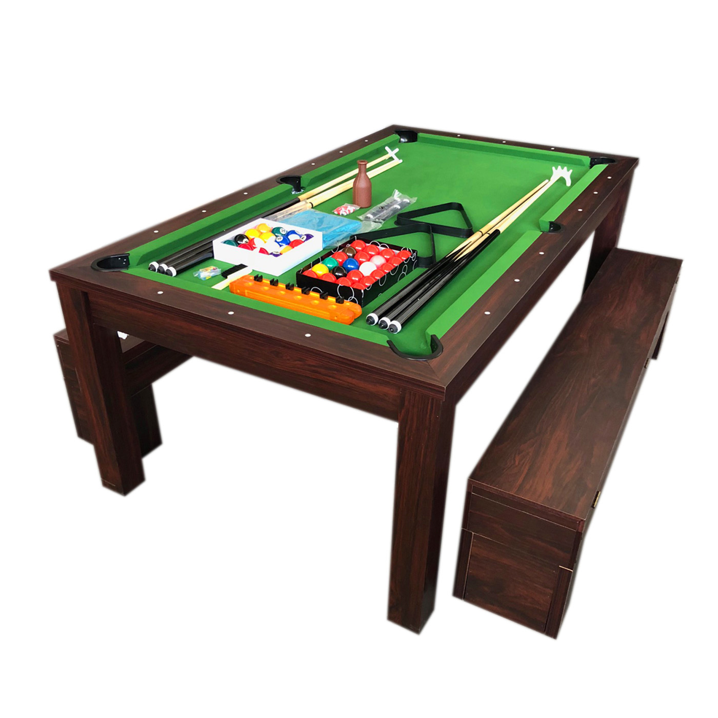 10 FT Pool Table and Dining Table with Container Benches – Rich Green